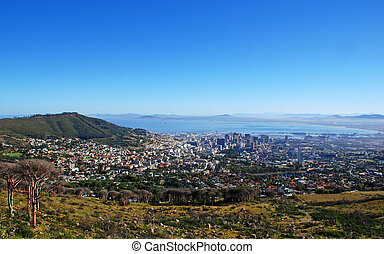 Capetown and Table Bay(South Africa) - panoramic view of ...