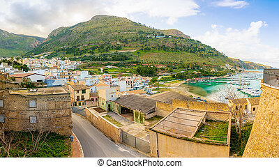 Panoramic view of Castellammare del Golfo in winter time on the island of Sicily, Italy