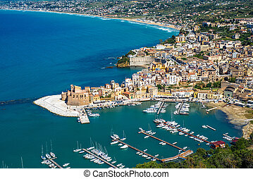 Panoramic view of Castellammare del Golfo, Sicily, Italy