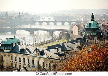 Panoramic view of the bridges on Vltava from Letna park, Prague, Czech republic