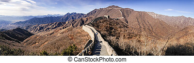 Panoramic View of China Mountains from the Great Wall of China