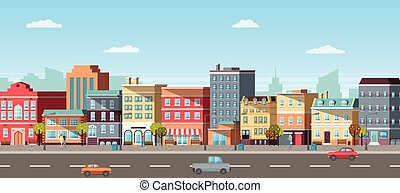 Panoramic View of City, Car and Pedestrian Vector