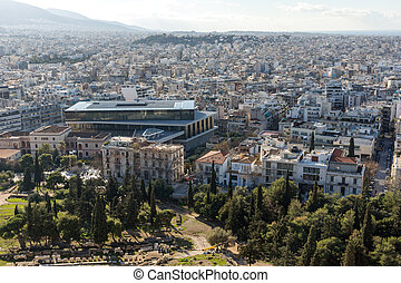 Panoramic view of city of Athens from Acropolis, Attica,...