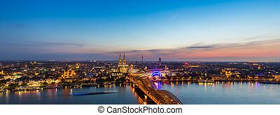 panoramic view of cologne at sunset