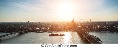 panoramic view of cologne city at dusk