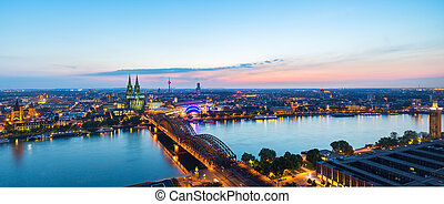 panoramic view of cologne city at sunset