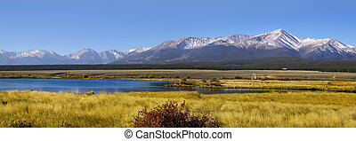 Panoramic view of Colorado landscape with blue water pond