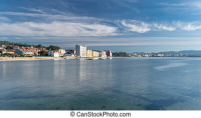 Panoramic view of Compostela beach, Vilagarcia de Arousa, Pontevedra, Spain. Touristic place of Galicia