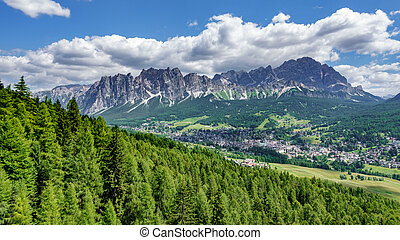 Cortina d Ampezzo and Dolomiti rocks