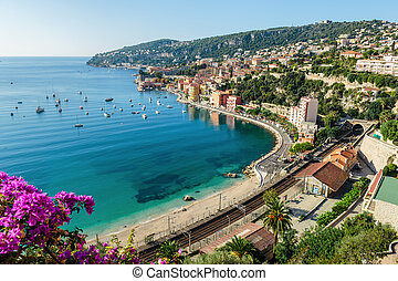 Panoramic view of Cote d'Azur near the town of Villefranche-sur-