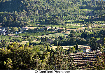 Panoramic view of cultivated fields, vineyards and mountains in Provence, France