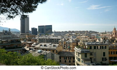 Panoramic view of downtown Genoa, Italy