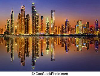 Dubai Marina bay, UAE - Panoramic view of Dubai Marina bay,...