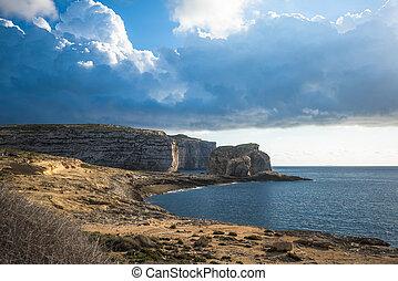 Panoramic view of Dwejra bay with Fungus Rock, Gozo, Malta