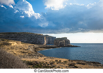 Panoramic view of Dwejra bay with Fungus Rock, Gozo, Malta