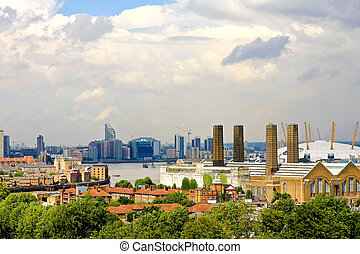 East London - Panoramic view of East London with O two arena...