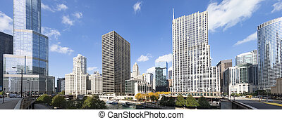 Panoramic view of famous buildings in Chicago