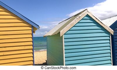 Panoramic view of famous colorful huts on the beach, Brighton Beach, Australia