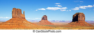 panoramic view of famous Monument Valley with blue sky