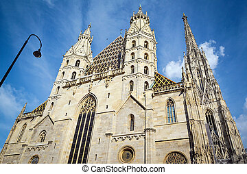 Panoramic View of famous St. Stephen's Cathedral at Stephansplatz in Vienna, Austria
