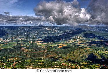 Panoramic view of Farinha mountain in Mondim de Basto, ...