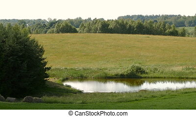 Panoramic View of field - panoramic view of farm fields, a...