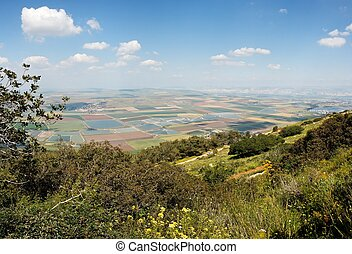 Panoramic view of fields from mountain