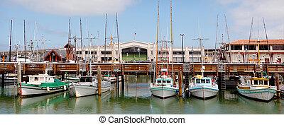 Panoramic view of Fisherman Wharf San Francisco - Panoramic...