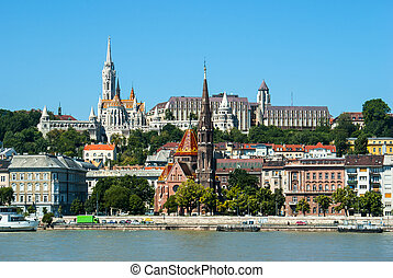 Panoramic view of Fishermen's bastion in Budapest, Hungary
