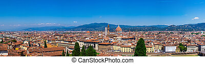 Panoramic view of Florence in summer day