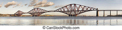 Panoramic view of Forth Rail Bridge, Edinburgh, Scotland. ...