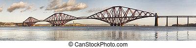 Panoramic view of Forth Rail Bridge, Edinburgh, Scotland....