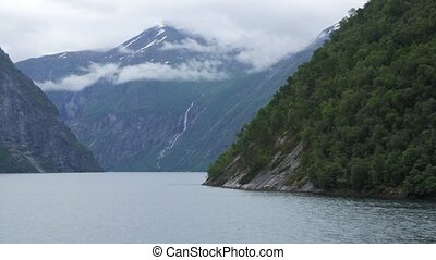View from the ferry on the fjord in Norway - Panoramic view...