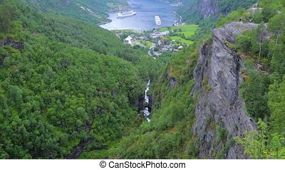 Panoramic view of Geiranger seaport, Norway. End of famous...