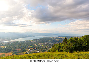 Panoramic view of Geneva city and Lake Geneva from the mountains.