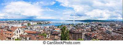 Panoramic view of Geneva water fountain from the Saint-Pierre cathedral - Switzerland