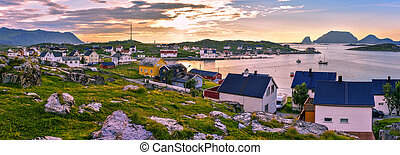 Panoramic view of Gjesvaer village in the west of Mageroya Island. Nordkapp Municipality in Norwegian Finnmark county.