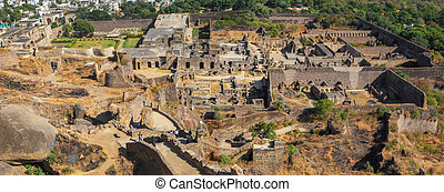 Panoramic view of Golconda fort in Hyderabad, India