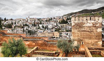 Granada - Panoramic view of Granada in Spain