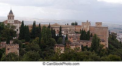 Panoramic view of Granada taken from Alhambra