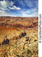 panoramic view of Grand Canyon and Colorado river