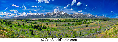 Panoramic view of Grand Teton mountain range.