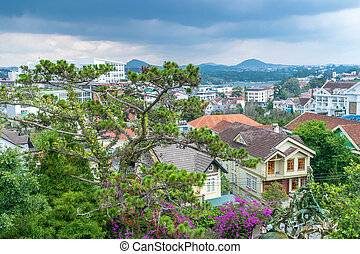 Panoramic view of green tree with flowers and roof of houses with sky before rain