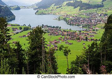 Panoramic view of Grindelwald Village, Switzerland