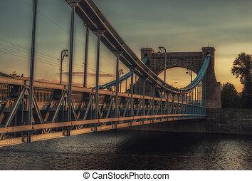 Panoramic view of Grunwaldzki Bridge (Most Grunwaldzki) in Wroclaw, Poland