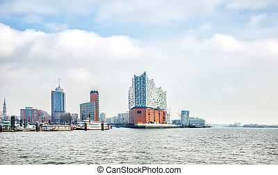 panoramic view of Hamburg city and Elbphilharmonie, a ...