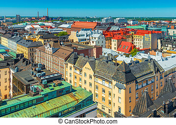 Panoramic view of Helsinki old city center.
