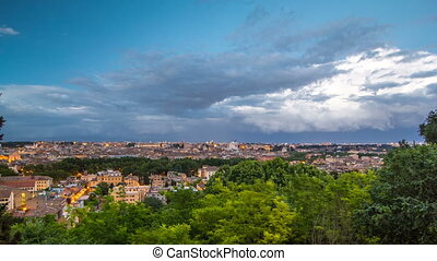 Panoramic view of historic center day to night timelapse of Rome, Italy
