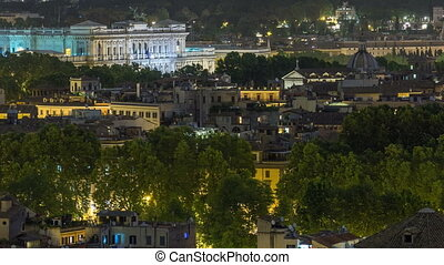 Panoramic view of historic center night timelapse of Rome, Italy