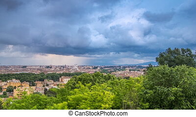 Panoramic view of historic center timelapse of Rome, Italy....